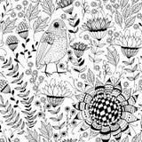 Ptak i kwitnie doodles wzór Zdjęcie Royalty Free