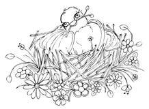 Ptak na gniazdowym rysunku Zdjęcia Royalty Free