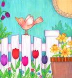 Ptak na ogrodzeniu Obrazy Stock
