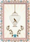 Ptak w klatki tle ilustracja wektor