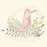Ptak z sprig ptaszki ładne Obraz Stock