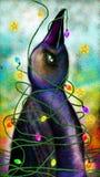 Ptak zawijający w choinek światłach royalty ilustracja