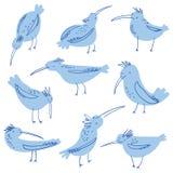 Ptaka doodle ilustracja Tłum ptaków seagulls remisu ręki papieru watercolours ilustracja wektor