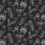 Ptaka i kwiatów wzór Obraz Royalty Free
