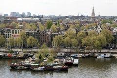 Ptaka oka widok nad miastem Amsterdam Zdjęcie Royalty Free