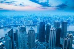 Ptaka oka widok nowożytny miasto w Shanghai Zdjęcie Stock