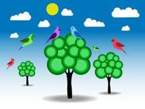 Ptaki i zieleni drzewa Obrazy Stock