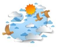 Ptaki lata w niebie w?r?d pi?knych chmur i s?o?ca, lata cloudscape ilustracja wektor
