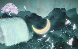 Ptaki latają pod księżyc rzecznym ilustracyjnym pakunkiem ilustracja wektor