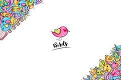 Ptaki lato lub wiosny pojęcie 3d kreskówki doodle tła projekt royalty ilustracja