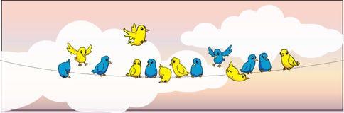 Ptaki na drucie Zdjęcia Royalty Free
