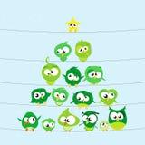 Ptaki na drutach Zdjęcie Stock