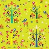 Ptaki w drzewo natury lasowym bezszwowym wzorze Zdjęcia Stock