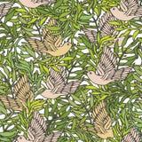 Ptaki w krzaku ilustracja wektor