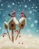 Ptaki w zimie royalty ilustracja