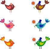 Ptaki wektory, ptak ilustracja, kwiaty, Biały tło Zdjęcia Stock