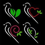 Ptaki z kreatywnie skrzydłami ilustracja wektor