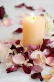 Pétalas de rosas cor-de-rosa e brancas bonitas românticas com vela Imagens de Stock Royalty Free