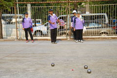 Pétanque chalege in thailand Stock Photo