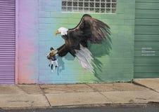 Ptasi karmy malowidło ścienne 2018 Meg Saligman studiiem, Filadelfia Obrazy Stock