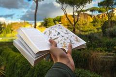 Ptasi Tożsamościowego pola przewdonik w ręki odprowadzeniu zdjęcie royalty free