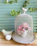 Ptasia klatka i różowe róże Fotografia Stock