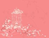 Ptasia klatka wśród okwitnięcie gałąź i kwiatów royalty ilustracja