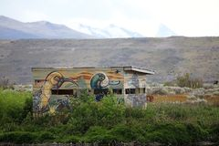 Ptasia kryjówka przy Laguna Nimez, przyrody rezerwa przy El Calafate w Patagonia, Argentyna zdjęcie royalty free