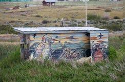 Ptasia kryjówka przy Laguna Nimez, przyrody rezerwa przy El Calafate w Patagonia, Argentyna obrazy stock