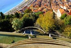 Ptasia widok panorama Ładny, Francja Zdjęcia Royalty Free