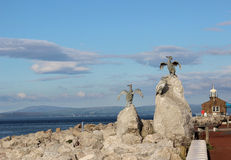 Ptasich rzeźb Kamienny Jetty Morecambe Lancashire Obraz Stock
