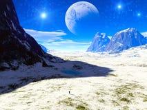 ptasiego fantazi krajobrazu światła magiczny nieba słońca zmierzch ilustracja wektor
