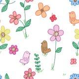 Ptasiego kwiat przestrzeni doddle bezszwowy wzór Ilustracji