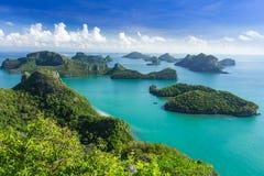 Ptasiego oka widok Denny Tajlandia, Mu Ko Ang paska wyspa obywatel P Obraz Stock