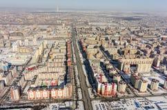 Ptasiego oka widok na Permyakova ulicie Tyumen Rosja zdjęcie stock