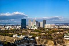 Ptasiego oka widok Osaka kasztel Fotografia Royalty Free