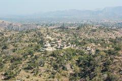 Ptasiego oka widok pola od Kumbhalgarh pałac Fotografia Stock