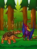 Pteranodon and ankylosaurus on the background of a forest. Pteranodon and ankylosaurus on the background of forest. Vector illustration Royalty Free Stock Photo