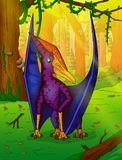 Pteranodon on the background of forest. Vector illustration Royalty Free Stock Image