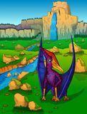 Pteranodon on the background of nature. Vector illustration Stock Images