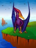 Pteranodon the background of the sea. Vector illustration Stock Image