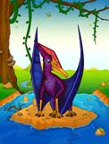 Pteranodon on the background of a waterfall. Vector illustration Stock Photo