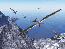 Pteranodon birds - 3D render. Pteranodon birds flying upon costal rocks by beautiful day - 3D render Royalty Free Stock Photos