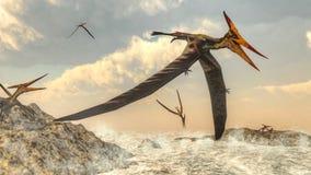 Pteranodon birds flying - 3D render. Pteranodon bird flying upon ocean - 3D render Stock Photography