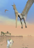 Pteranodon dinosaurs fishing - 3D render Stock Photos
