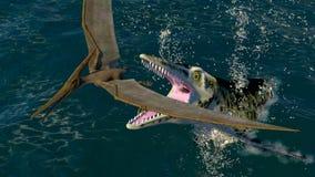 Pteranodon en een roofzuchtige overzeese dinosaurus vector illustratie