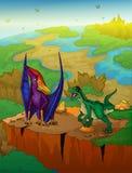 Pteranodon en roofvogel met landschapsachtergrond Vectorillustra stock illustratie