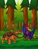 Pteranodon et ankylosaurus sur le fond d'une forêt Illustration de Vecteur