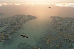 Pteranodon Flugwesen über Flussdreieck lizenzfreie stockfotos