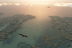 Pteranodon flying above river delta. 3d Royalty Free Stock Photos